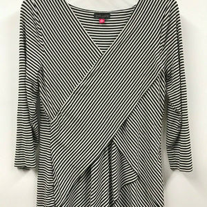 Vince Camuto M Black & White Striped Tunic Top